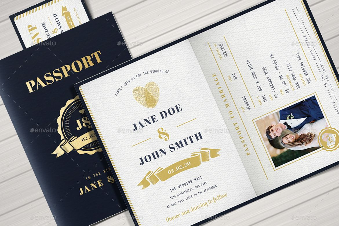All About Travel Passport Wedding Invitation And Rsvp Passport