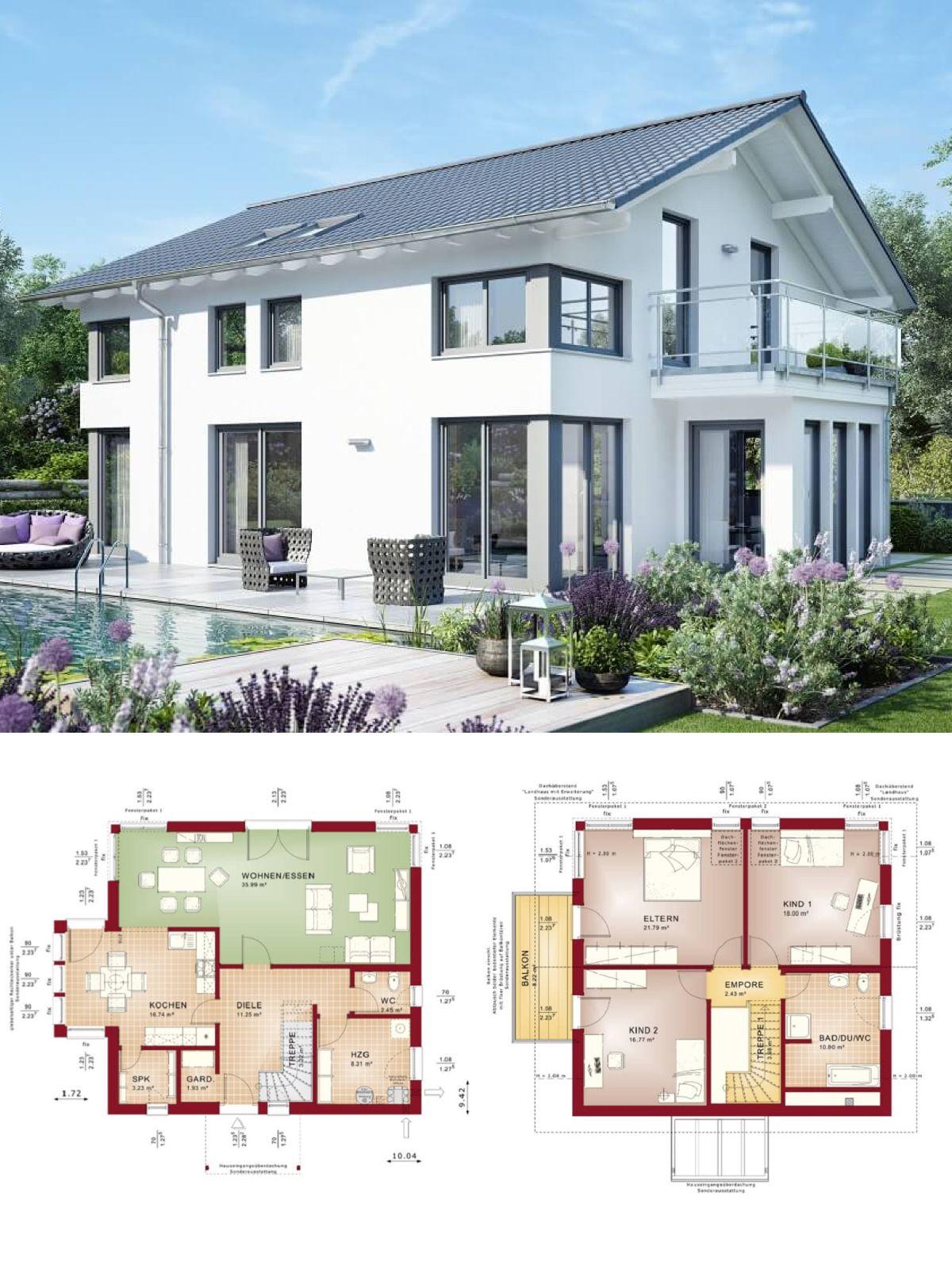 Modernes design haus mit satteldach einfamilienhaus for Modernes einfamilienhaus grundriss