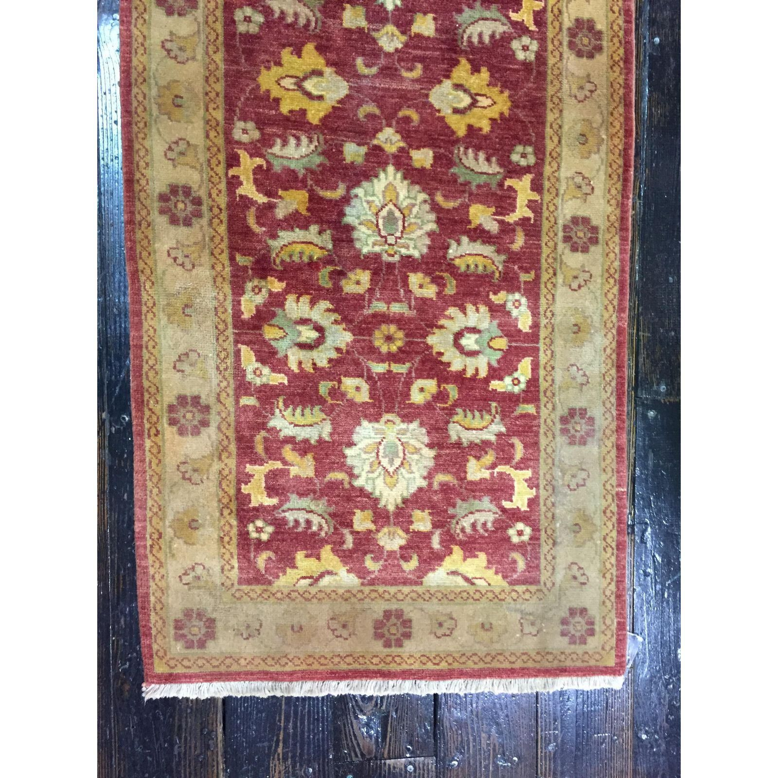 Oushak Runner Rug X Red And Cream Colored Handmade Gorgeous Accent For A Hallway Or Entryway