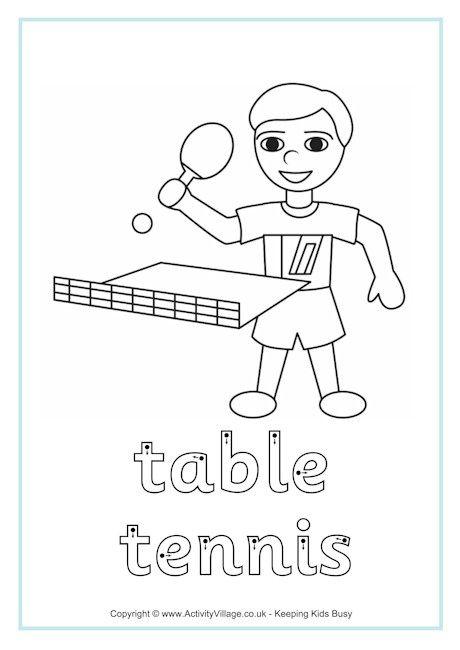 Table Tennis Finger Tracing Boyama Sayfalari Spor
