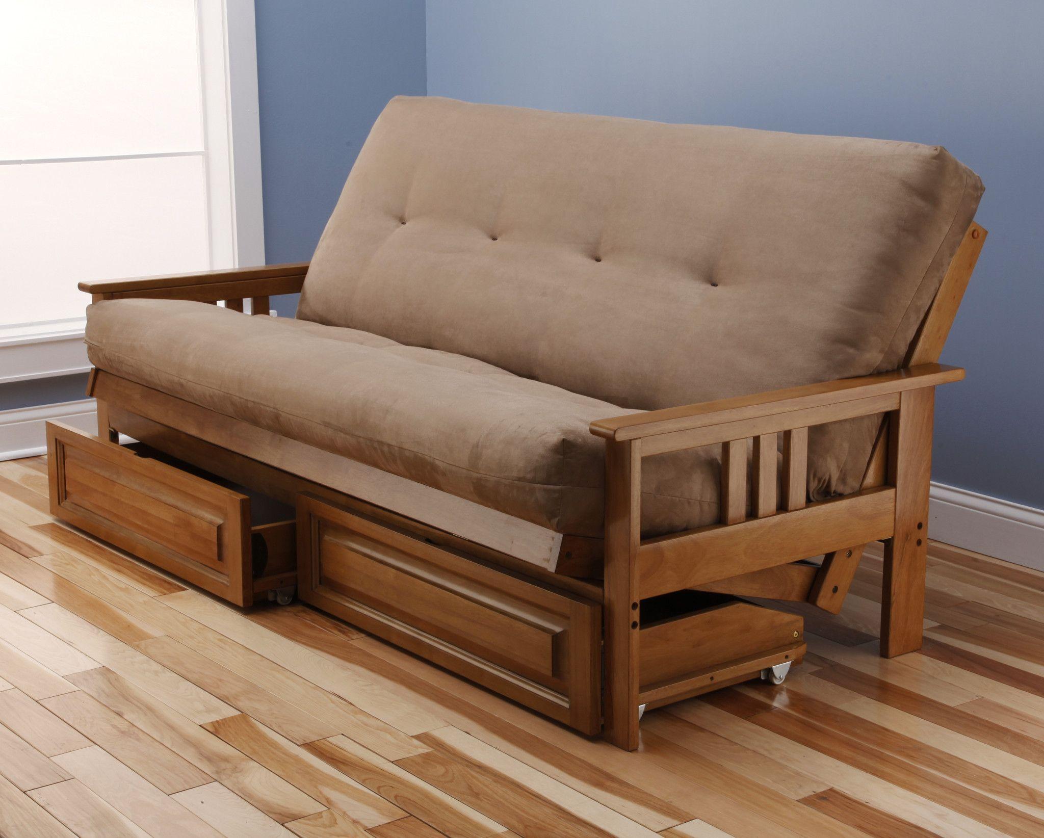 andover futon frame and drawer set in light honey oak wood suede