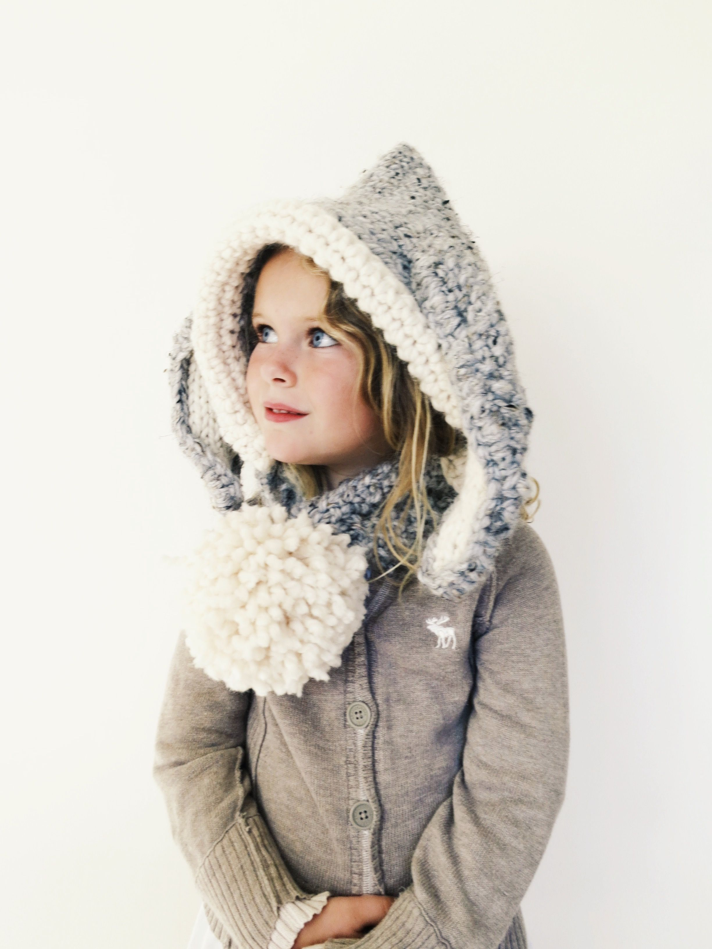 PATTERN for Bunny Hat Hood Cowl Scarf Knit Toddler Child Adult ...