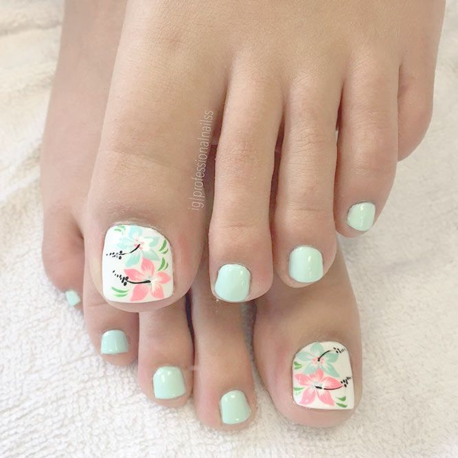 30 Cool Tropical Nails Designs For Summer Pedicures Toe Nail