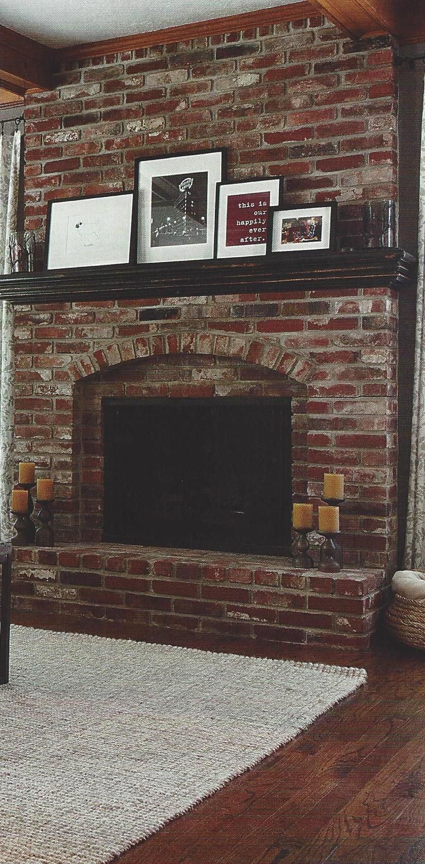 Have A Red Brick Fireplace With Dark Wood Mantel This Is A Great Example Of How To Dress Red Brick Fireplaces Brick Fireplace Mantles Painted Brick Fireplaces