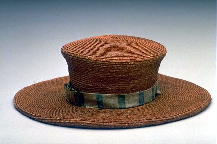 860275e4ce9c2 Early 19th c. woven straw man s wide brim hat with fabric band. google.