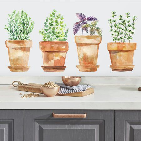 Watercolor Potted Herbs Peel and Stick Wall Decals in 2019