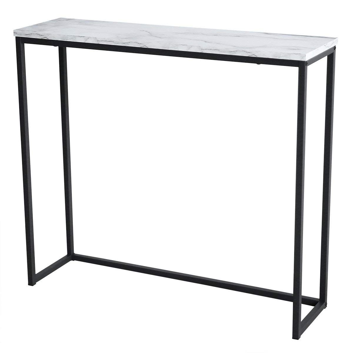 Modern Accent Faux Marble Console Table Black Metal Frame Entrance Hall Furniture Marble Console Table Hall Furniture