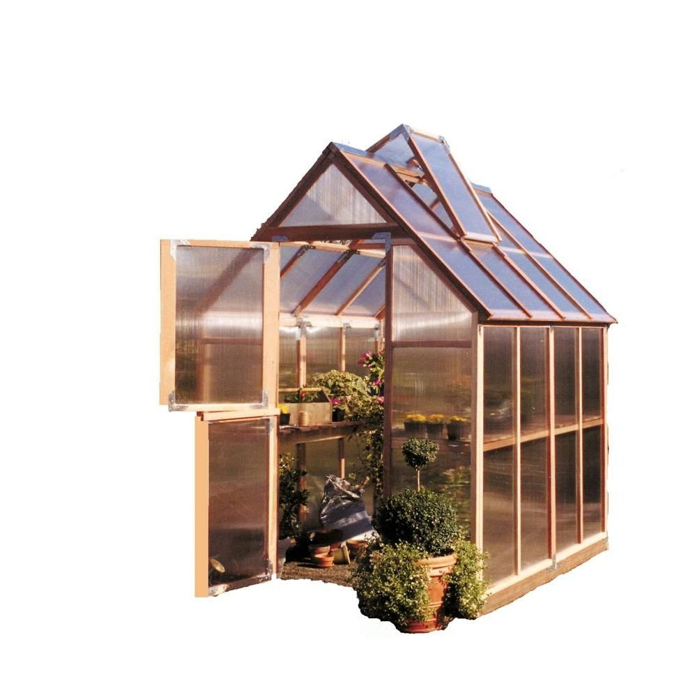 Sunshine Gardenhouse 72 In W X 96 In D X 100 In H Redwood Frame Polycarbonate Greenhouse Gkp68 The Home Depot In 2021 Backyard Greenhouse Greenhouse Kit Greenhouse Backyard greenhouse home depot