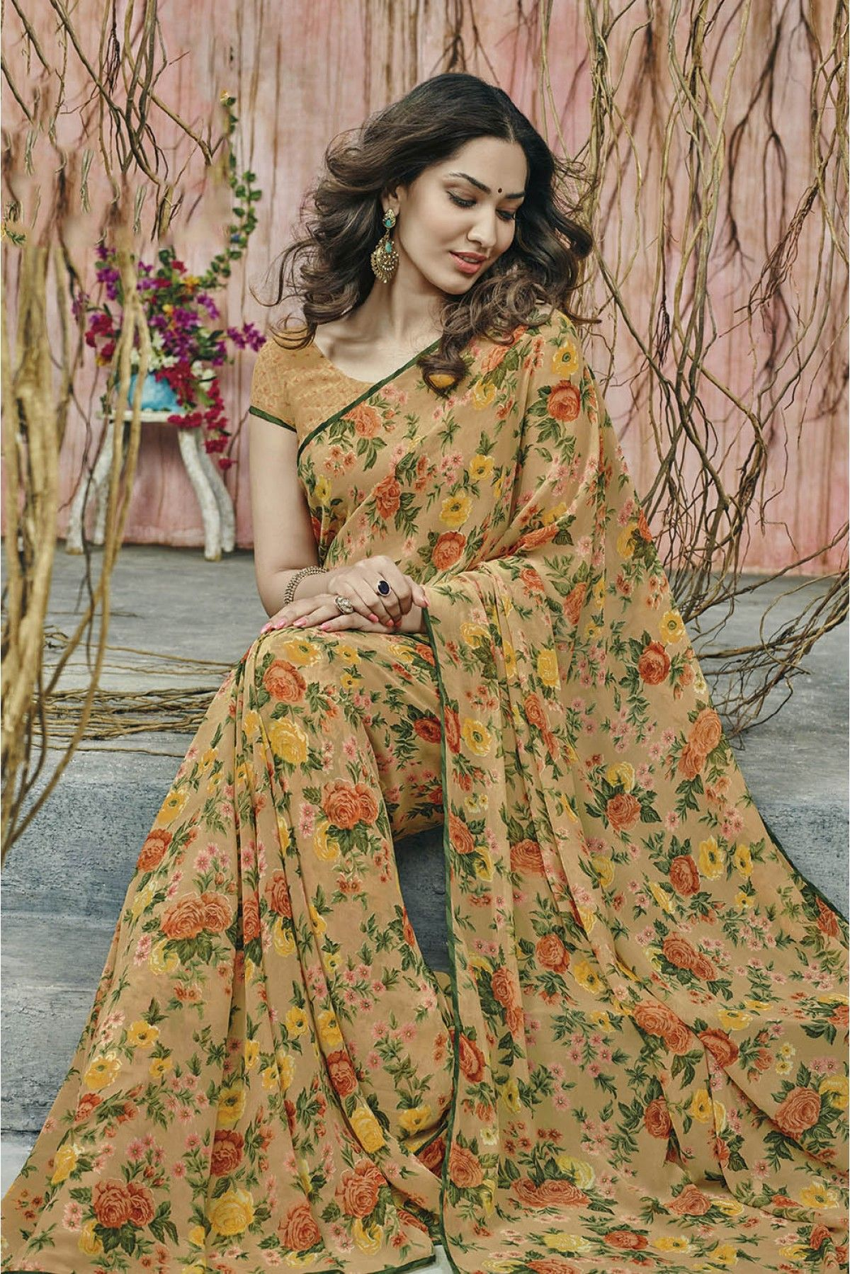 3eaad3251a9 Laxmipati Georgette Casual Wear Printed Saree in Multicolour.It comes with  matching Blouse.It is crafted with printed Design.It can be stitched upto  42 ...
