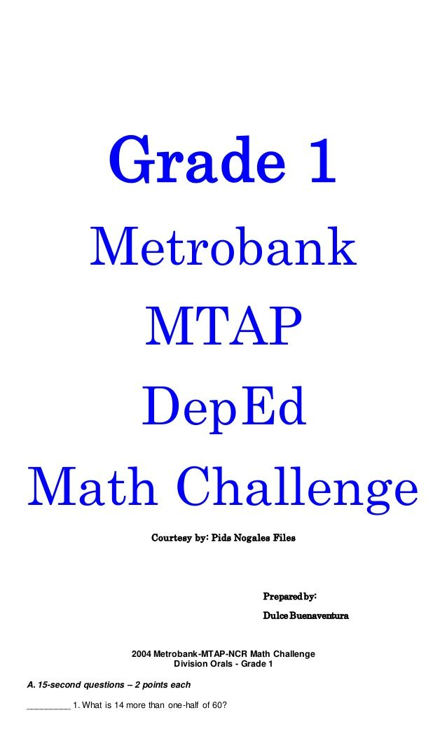 Grade 1 Metrobank Mtap Deped Math Challenge Courtesy By Pids