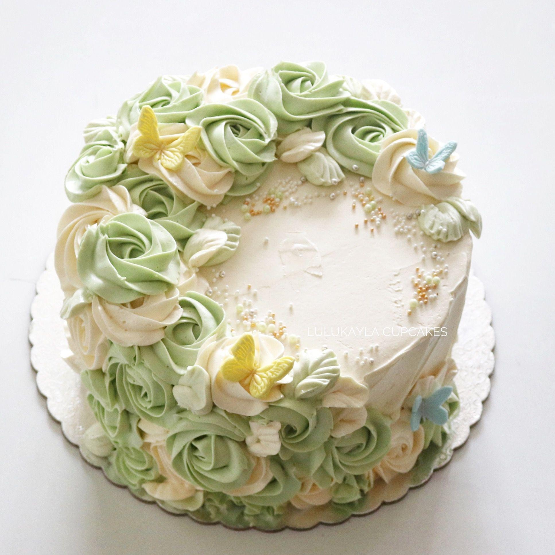 Rosette Buttercream Cake Cake Decorating Creative Cake Decorating Cake