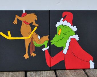Grinch Canvas Painting Artwork Wall By VonettesArtwork