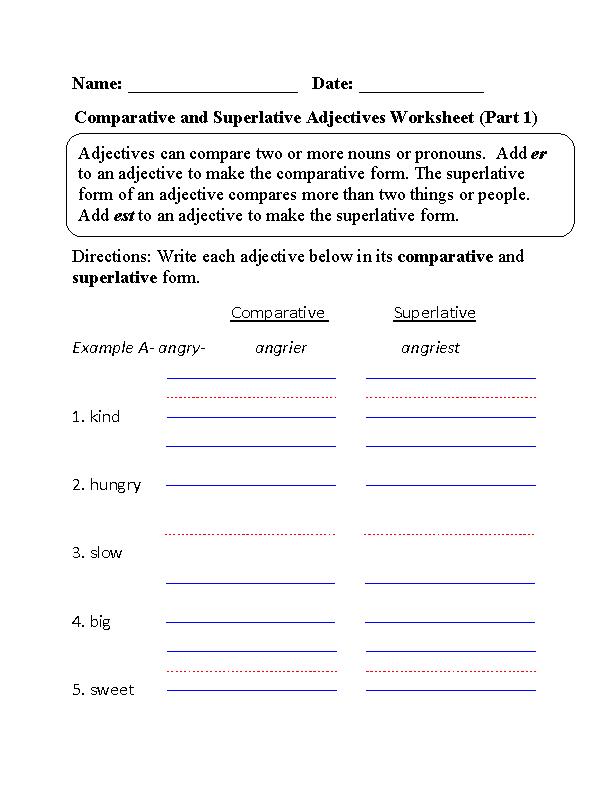 Comparative and Superlative Adjectives Worksheet Part 1 – Comparative and Superlative Adverbs Worksheets
