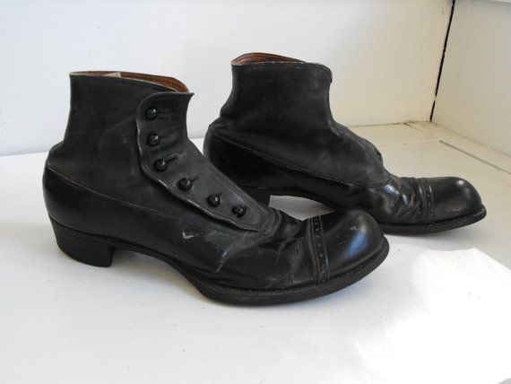 quality design 537dd cb606 Victorian Edwardian Mens Shoes Black Vintage Button Made Wright .