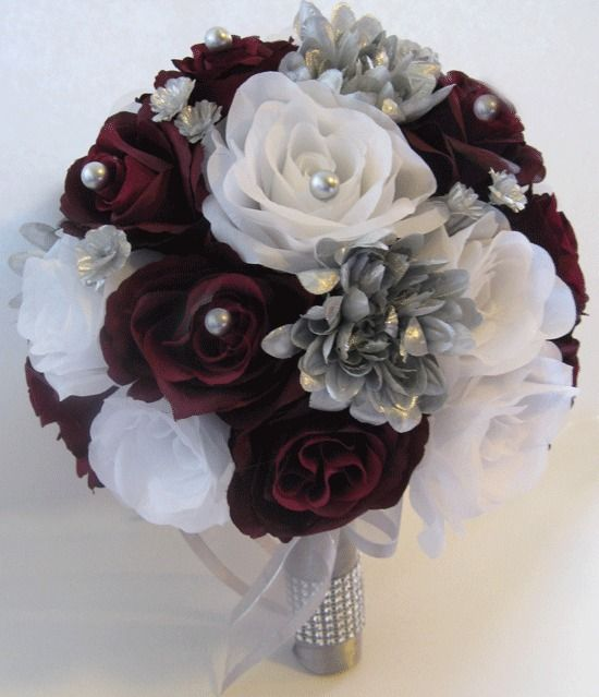 Wedding Silk Flower Bouquet 17 Pc Bridal Package Burgundy Silver Gray Bouquets Yesssido