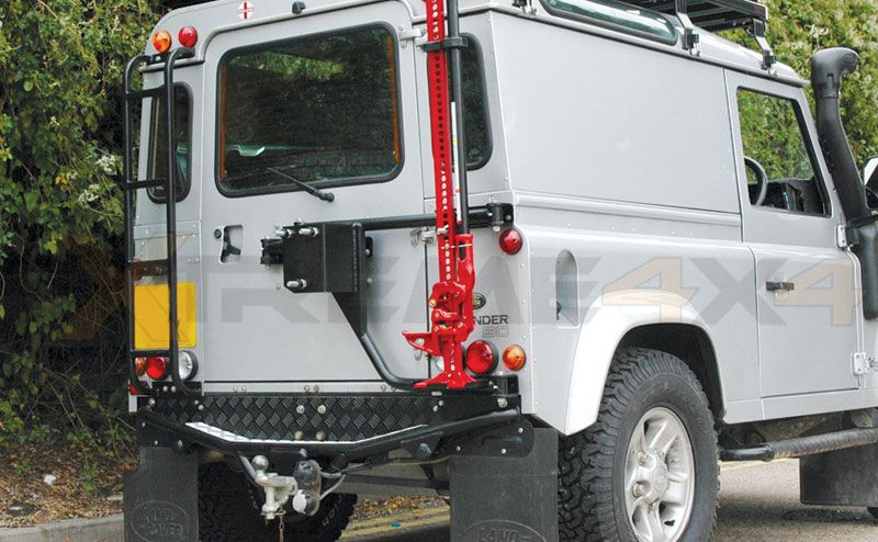 With A Mount For The Hi Lift Jack With One Of The Spare Wheels Is A Good Idea Wheel Carrier Land Rover Land Rover Defender