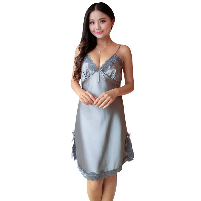 bf80f75982 Sexy Women Silk Satin Night Dress Sleeveless Nightgown Plus Size Nightdress  Lace Sleepwear Nightwear