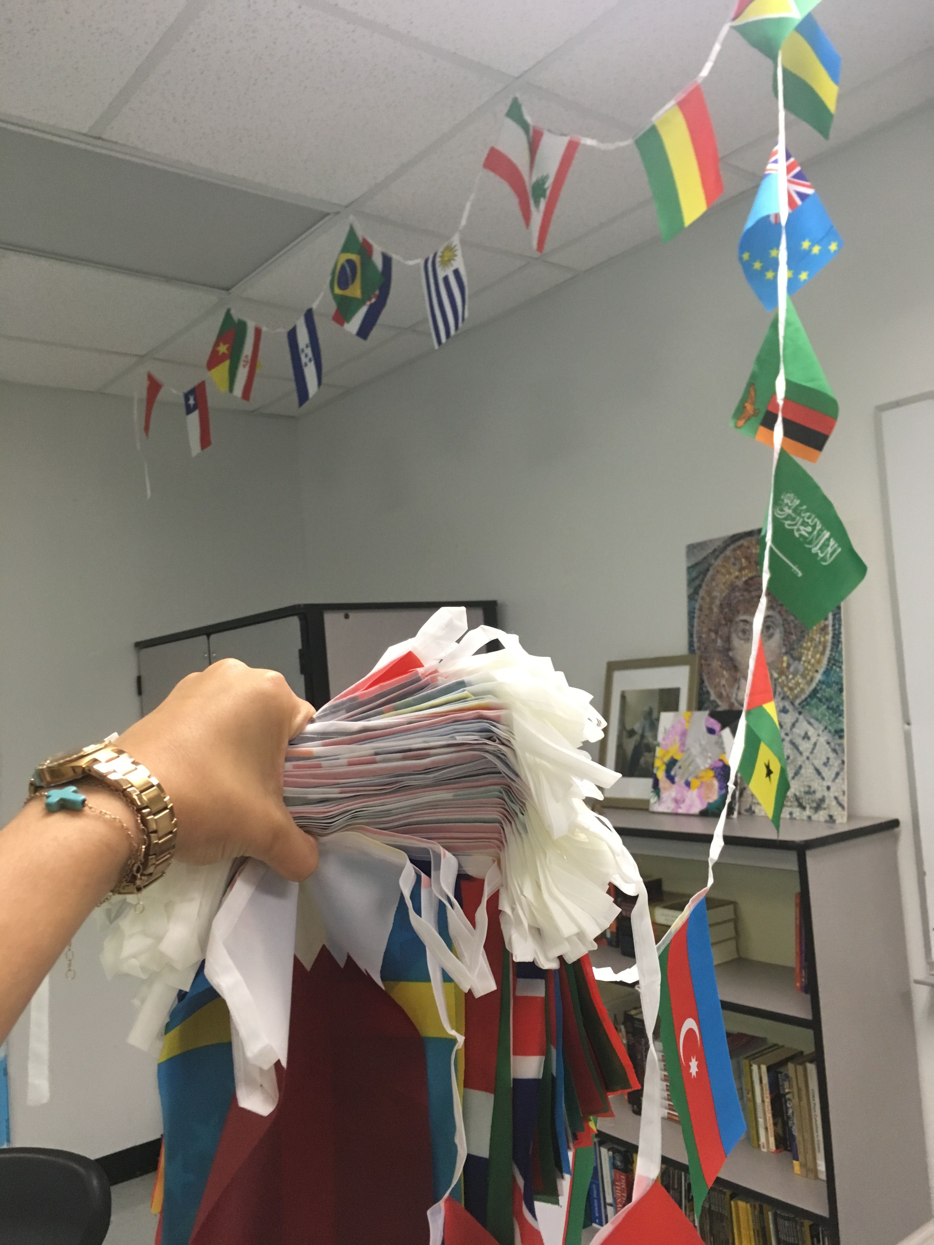 Decorating A World History Classroom With Flags From Around The Globe Jisforjourney History Classroom Decorations World History Classroom History Classroom