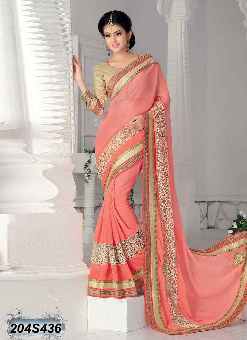 Peach color saree for wedding blooming peach coloured georgette saree  awesome wedding wear
