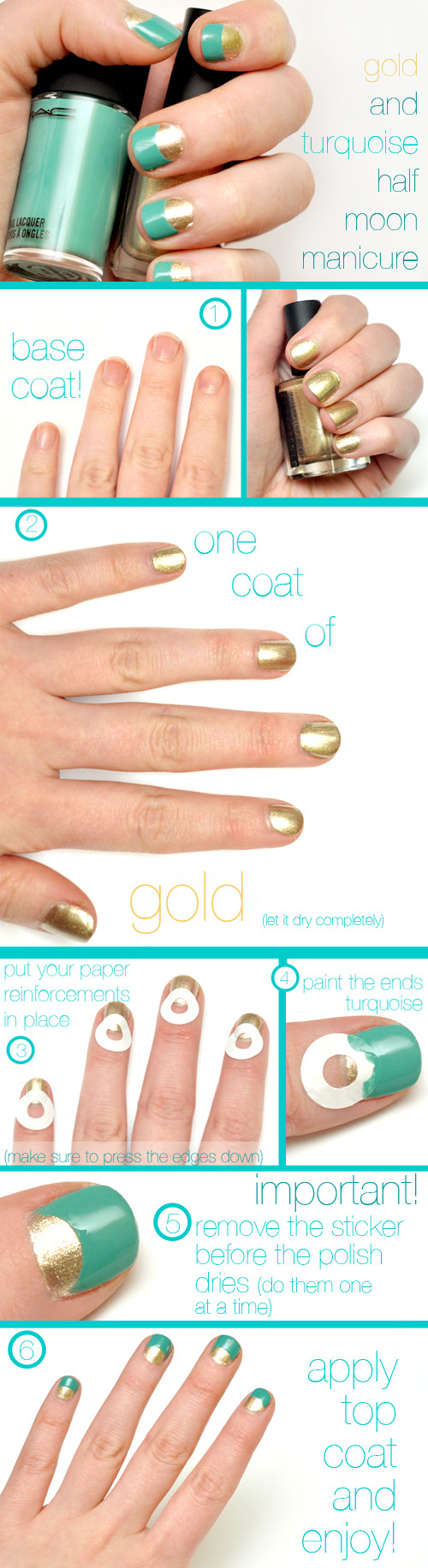 Gold and Turquoise Half Moon Nails - Imgur
