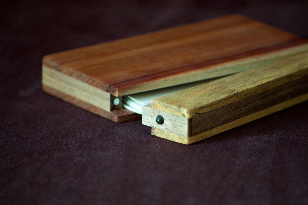 Wood Business Card Holder and Credit Card Case - Osage Orange and ...