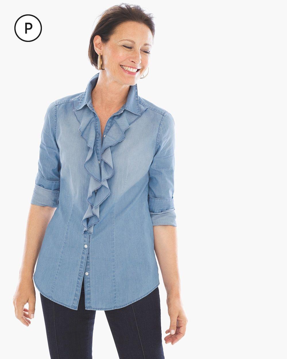 3625e14190 Chico s Women s Petite Ruffled Denim Shirt