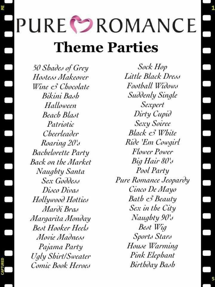 Theme Parties In 2019 Pure Romance Party Pure Romance