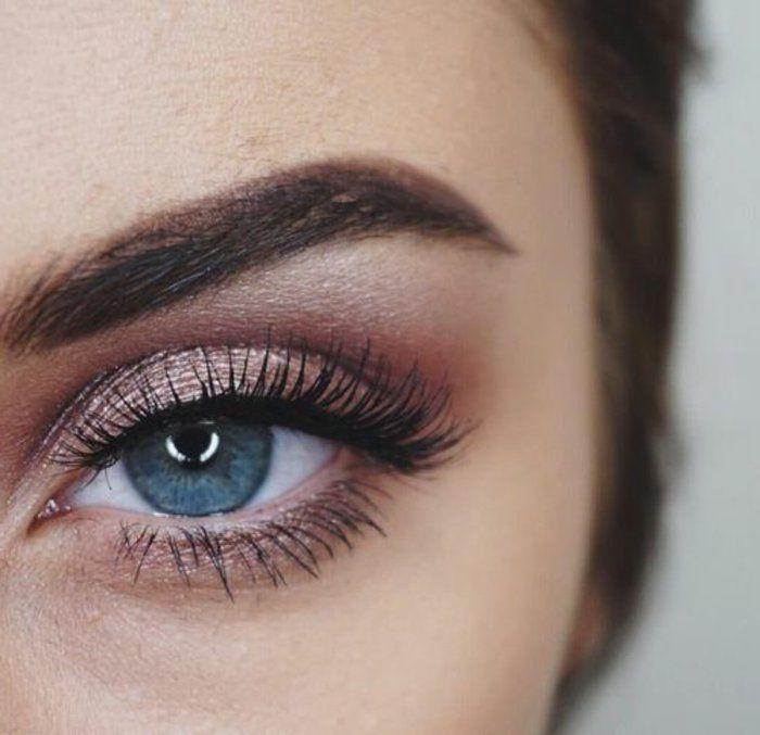 fard a paupiere en rose pale, comment se maquiller les yeux bleus