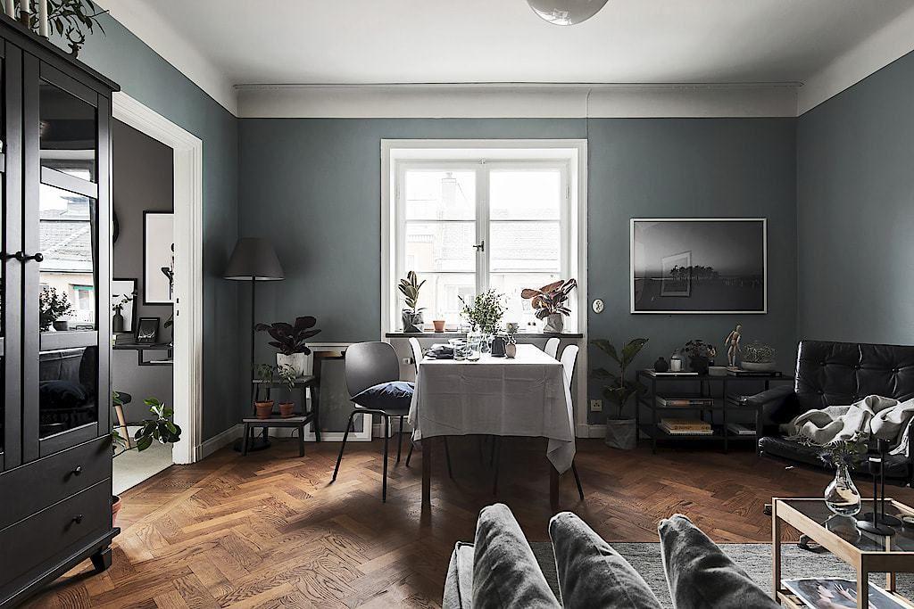Piso nórdico de 44 m² en gris oscuro | Pintura gris, Comprar pintura ...