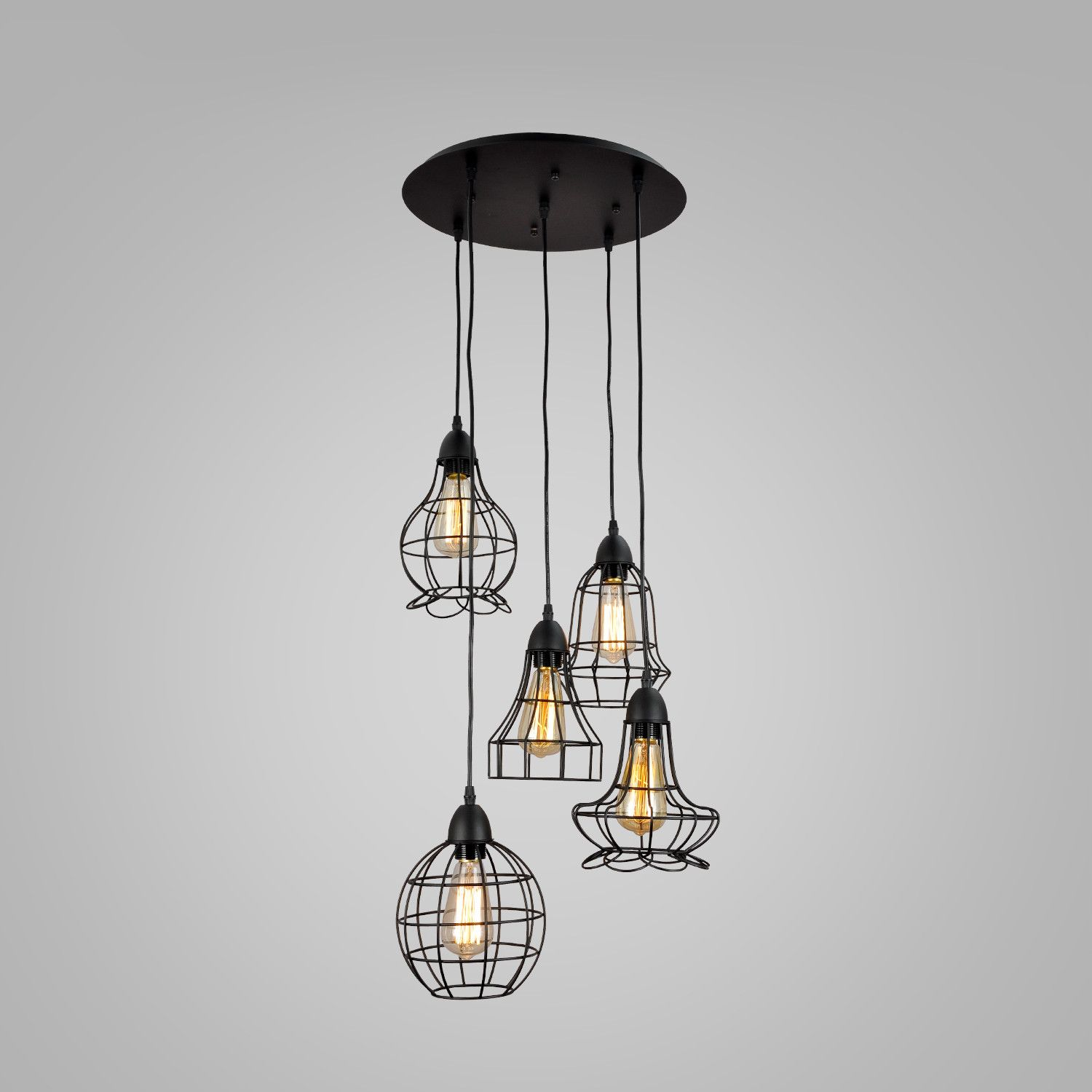 UNITARY BRAND Rustic Barn Metal Chandelier Max 200W With 5 Light