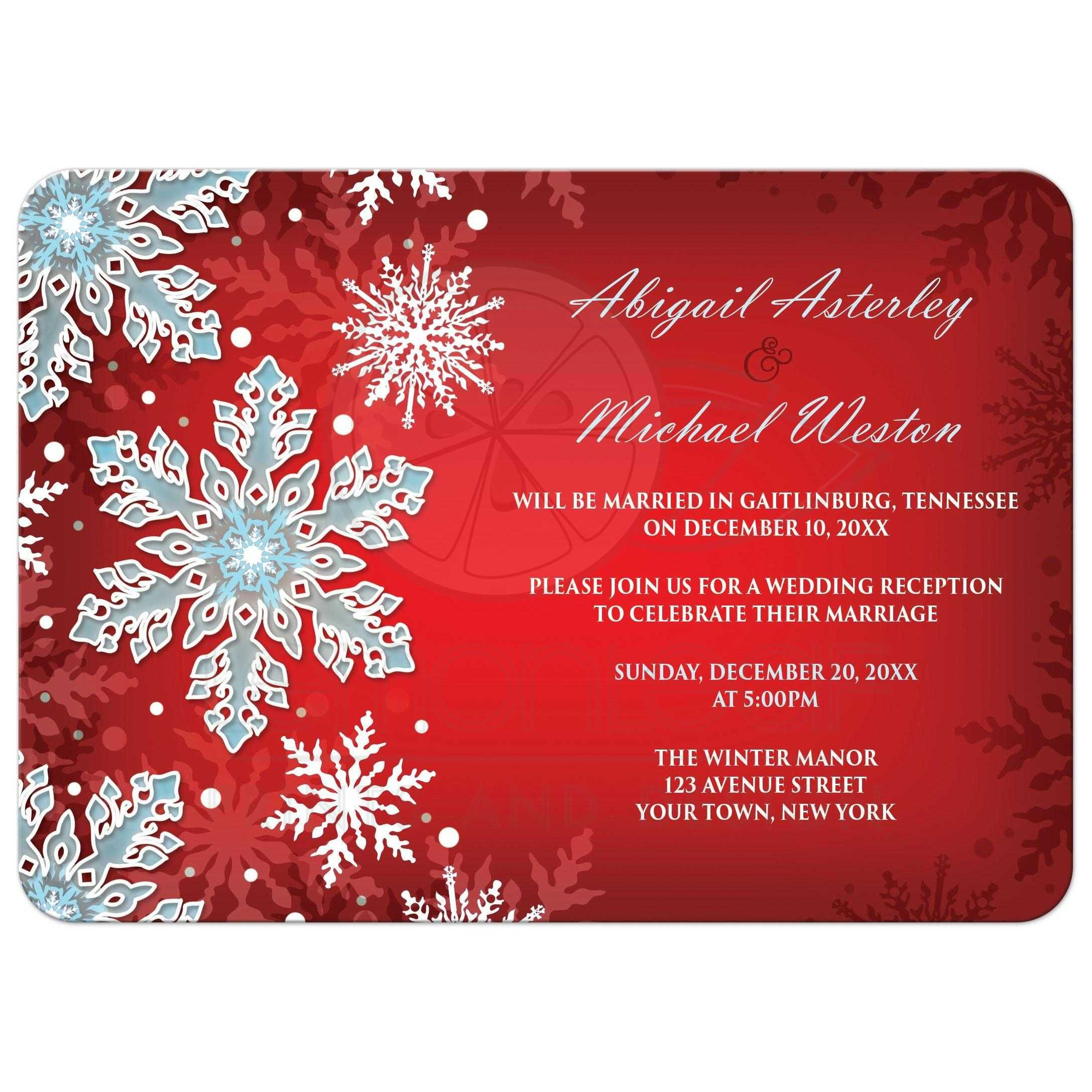 Reception Only Invitations - Royal Red White Blue Snowflake | A ...