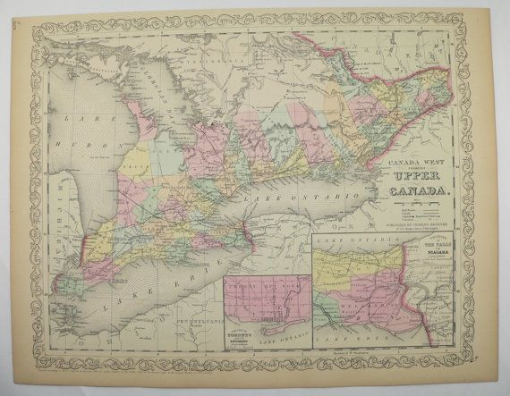 antique map of canada ontario map original 1858 mitchell map canada west antique art