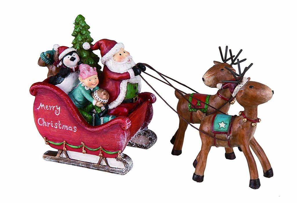 Transpac Santa Sleigh Decor Santa and Seasonal decor
