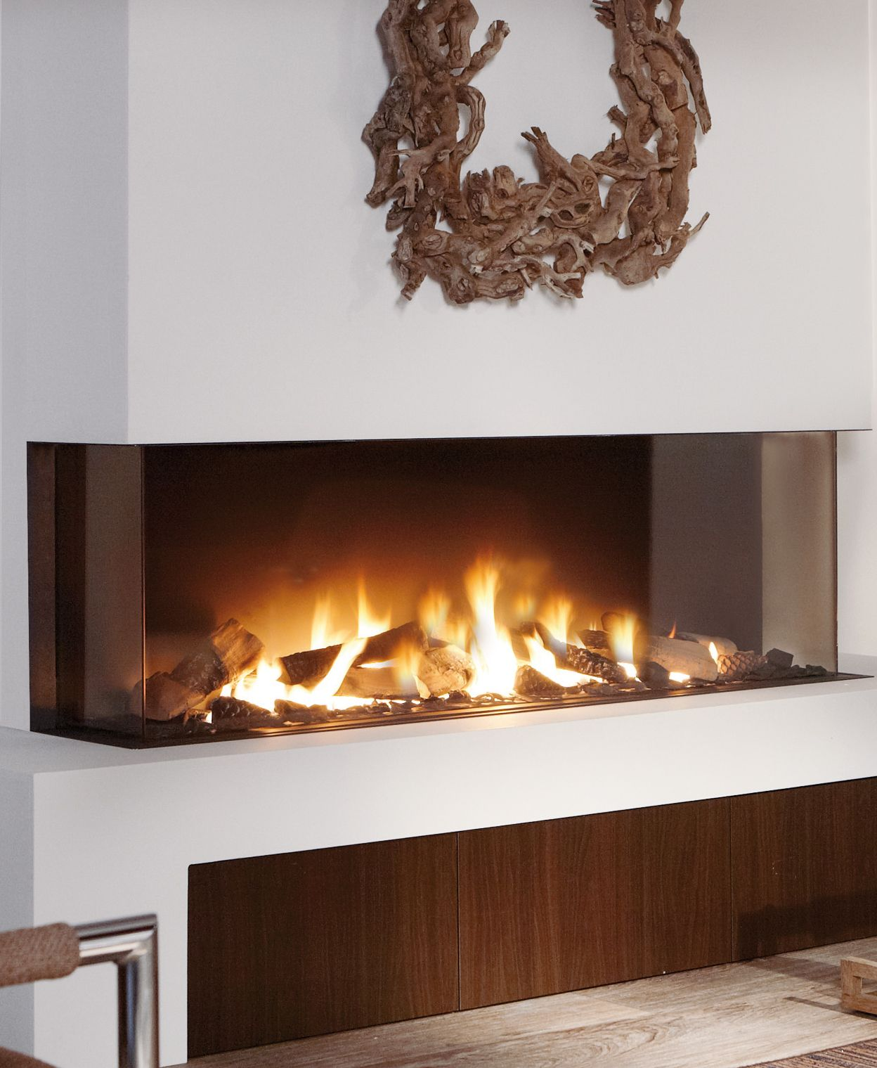 The Trisore 140 By Elements4 And Distributed By European Home Is A 3 Sided Or Bay Style Fireplace It Vent Free Gas Fireplace Natural Gas Fireplace Fireplace