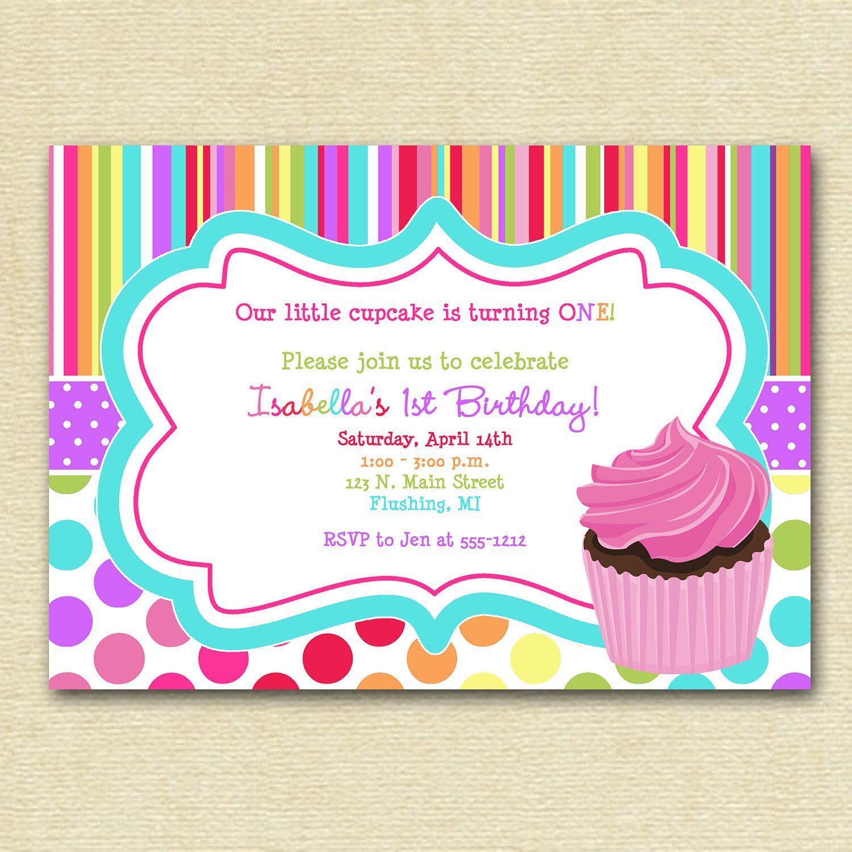Cupcake Birthday Party Invitation, Cupcake Invitation, Colorful ...