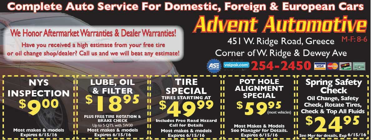 Advent Auto in Greece, NY is ready to give you your NYS