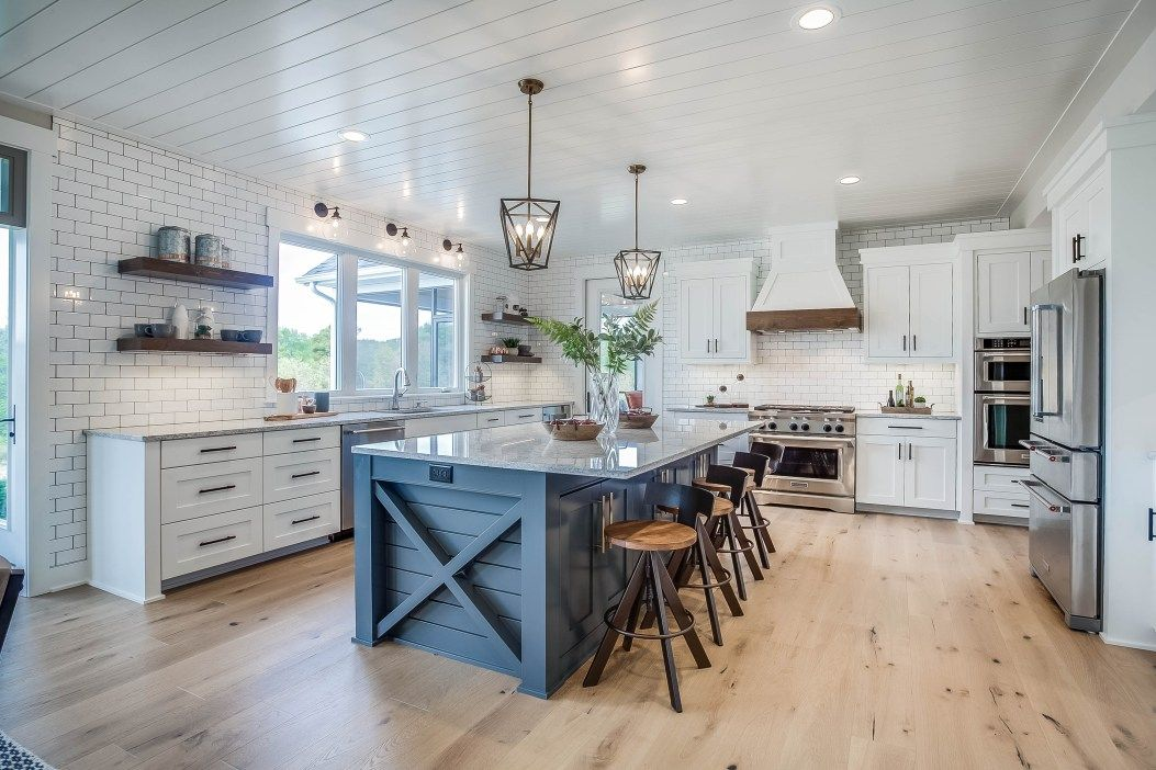 Modern Farmhouse Kitchen In Blue And White Color Scheme Palette