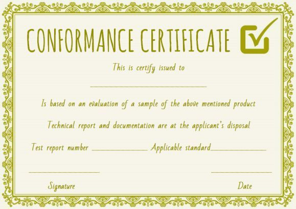 Supplier Certificate Of Conformance Template  Certificate Of