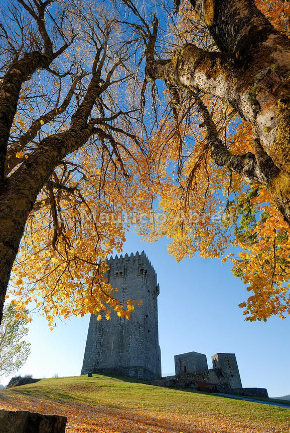 The medieval castle of Montalegre, dating from the 13th century, at dawn in Autumn. Trás-os-Montes, Portugal