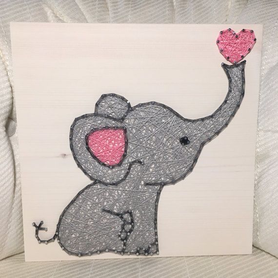 This adorable elephant would be a sweet addition to your babys nursery or childs bedroom! Or add it to your elephant collection!  Please specify pink or blue in the notes!  Size is 11 by 11. You choose the wood stain (gray, dark brown, light brown, or white) and string colors (elephant will be white unless you note otherwise). A sawtooth hanger is added to every board.  Shipping overages will be refunded.  Thank you for checking out my listing! You can find more at my Etsy shop- www.KiwiStrings.