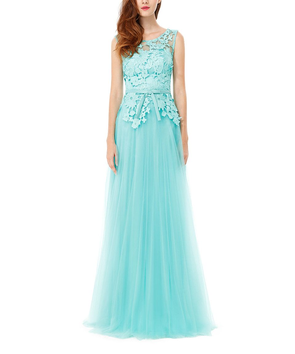 Take a look at this Aqua Lace-Accent Back-Cutout Gown today ...