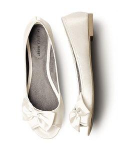 Satin Peep Toe Bridal Ballet Flats    Price: $31.50