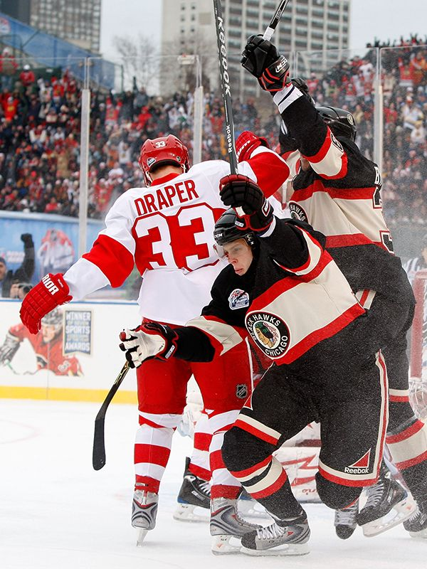Kris Versteeg of the Chicago Blackhawks reacts after he scored a first  period goal against the Detroit Red Wings during the NHL Winter Classic at  Wrigley ... 572f06a97