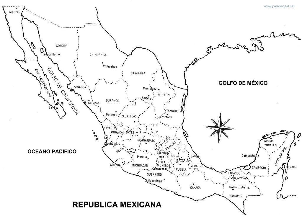 Mapa De La Republica Mexicana Con Nombres Y Division Politica Republica Mexicana Con Nombres Mapa Mexico Con Nombres Mapa De Mexico