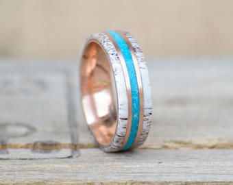 Mens Wedding Band 10k Rose Gold with Natural Shed Elk Antler and