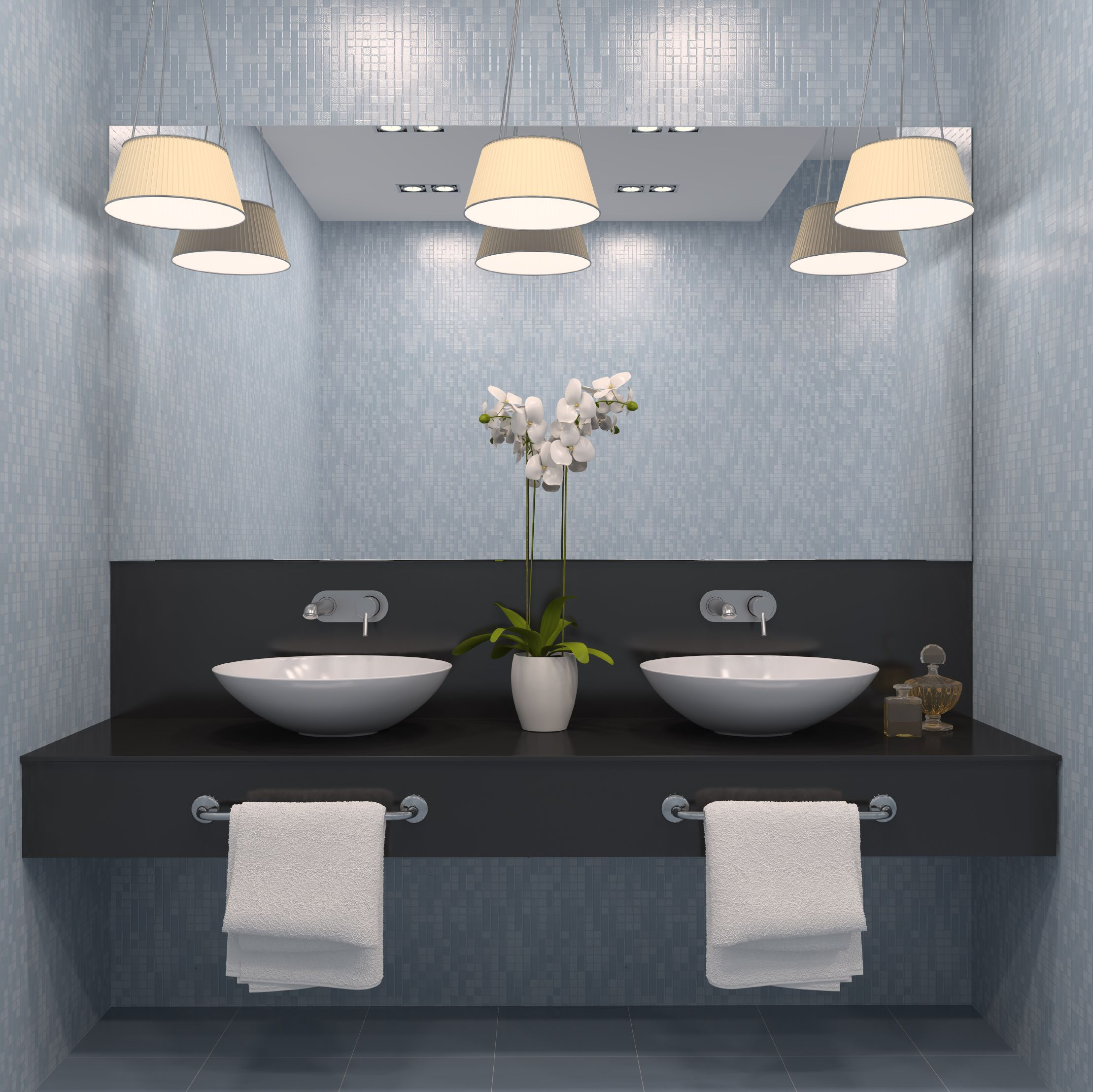 Modern design with a soft blue and grey to invite cleanliness and ...