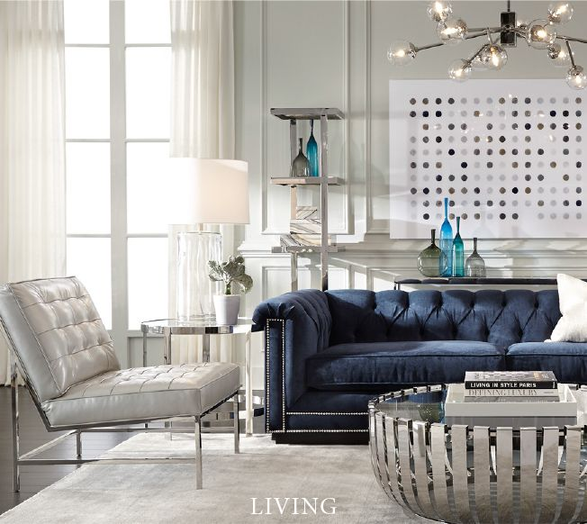 Living Room Furniture Bobs: Indigo Sofa With Silver Nailheads, So Glam. Mitchell Gold