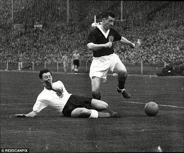 Action from the England vs Scotland Home International at Wembley in 1957