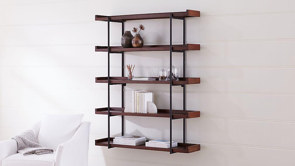 Beckett 48 5 Tier Wall Shelf Sable Reviews Crate And Barrel Shelves Room Storage Diy Wall Shelves
