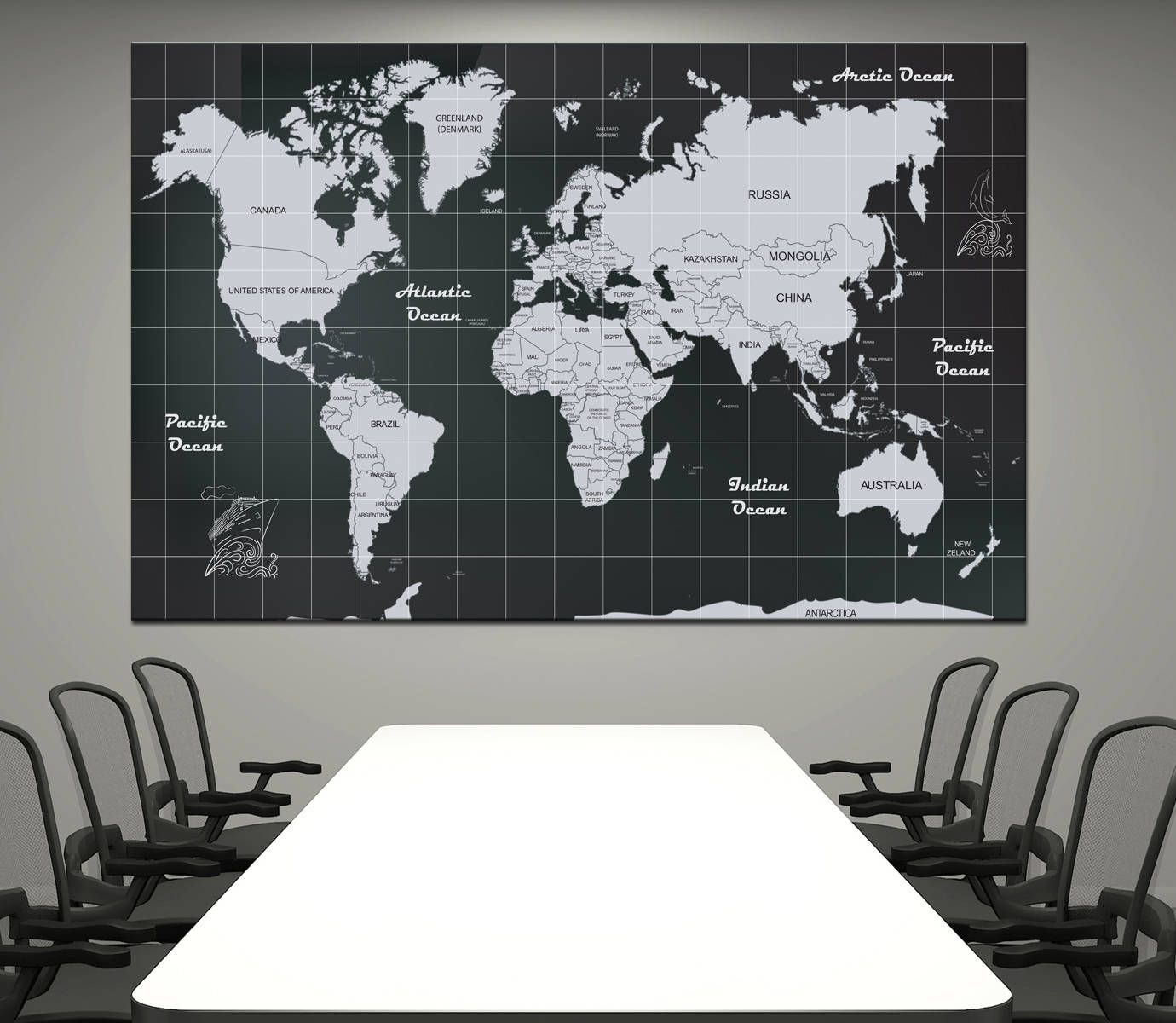 Large black and white detailed world map canvas print world map with large black and white detailed world map canvas print world map with countries names home gumiabroncs Choice Image